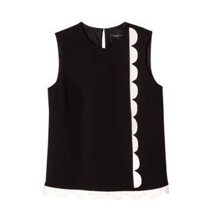 Victoria Beckham black & white scalloped blouse 2X